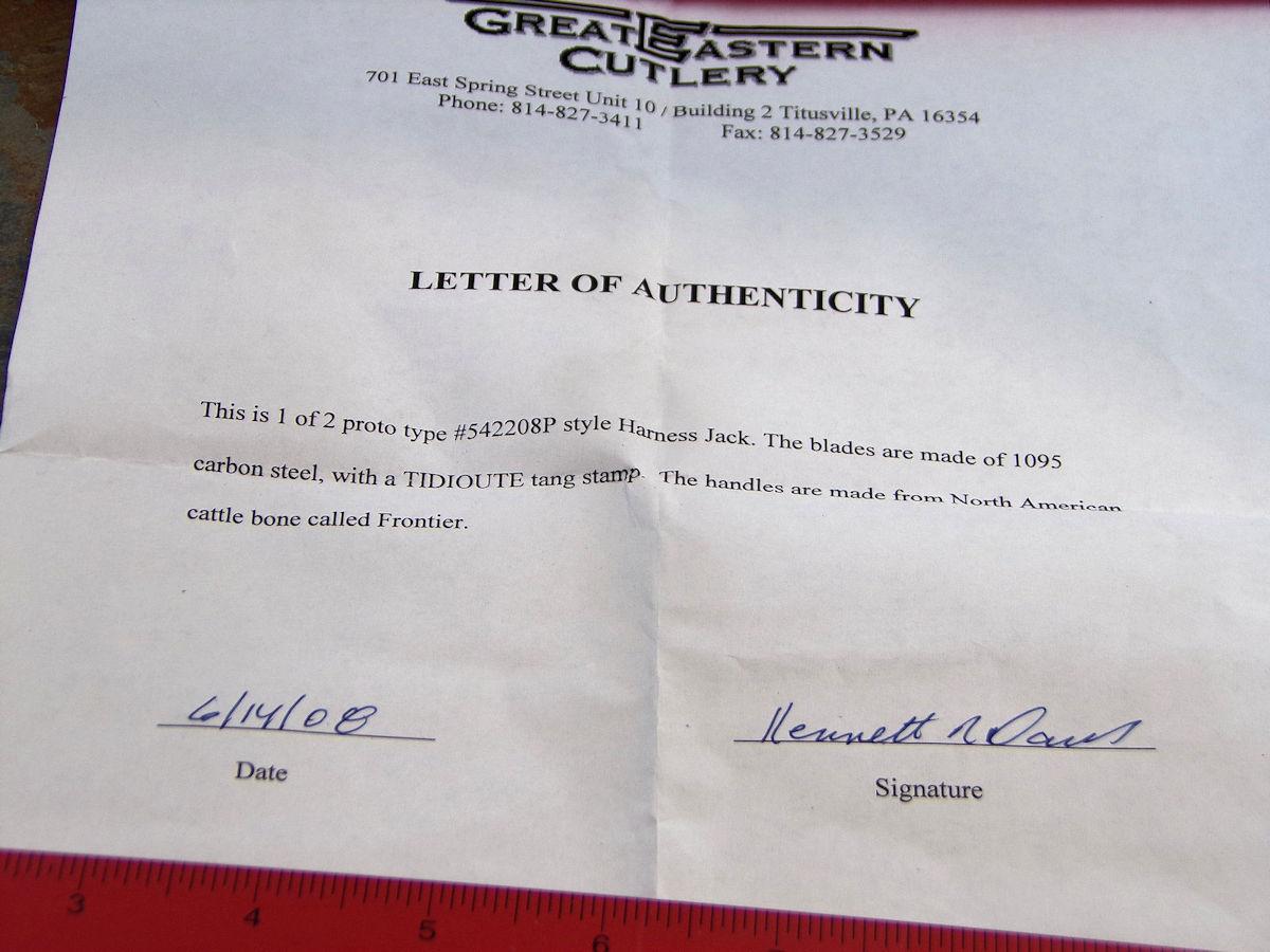 2008 GREAT EASTERN TIDIOUTE PROTOTYPE 542208 FRONTIER BONE HARNESS JACK  KNIFE